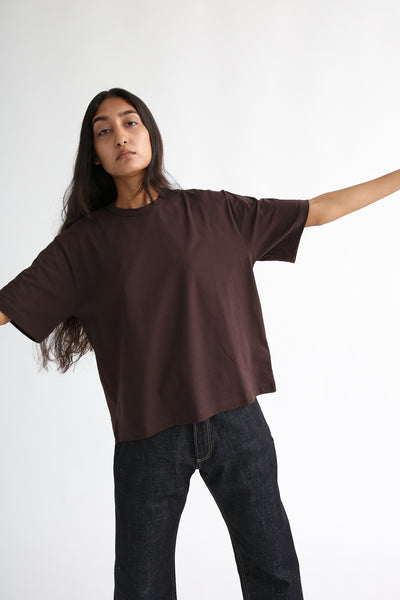 Studio Nicholson Lee T-Shirt - Mercerized Cotton in Espresso sleeve view