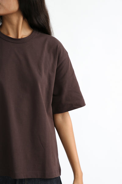Studio Nicholson Lee T-Shirt - Mercerized Cotton in Espresso neck detail