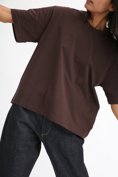 Studio Nicholson Lee T-Shirt - Mercerized Cotton in Espresso on model view front