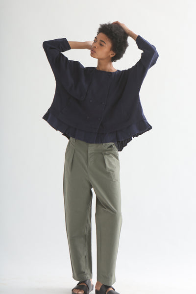 nest Robe Collarless Jacket - Linen Canvas in Navy on model view front
