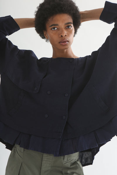 nest Robe Collarless Jacket - Linen Canvas in Navy front button detail