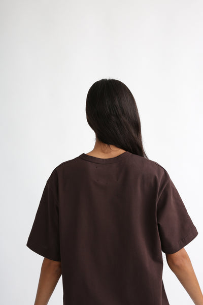 Studio Nicholson Lee T-Shirt - Mercerized Cotton in Espresso on model view back