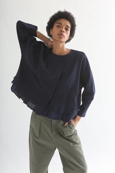 nest Robe Collarless Jacket - Linen Canvas in Navy front
