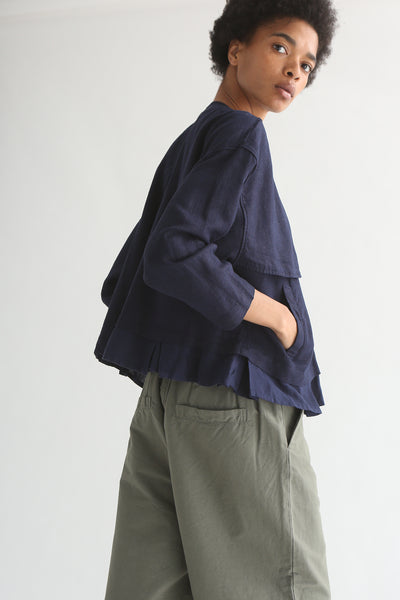 nest Robe Collarless Jacket - Linen Canvas in Navy side