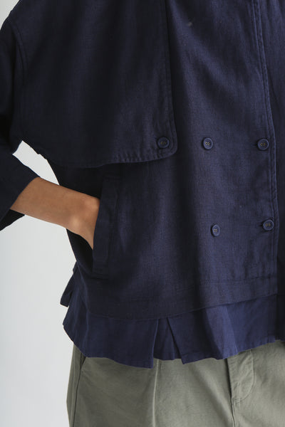 nest Robe Collarless Jacket - Linen Canvas in Navy front welt pocket detail