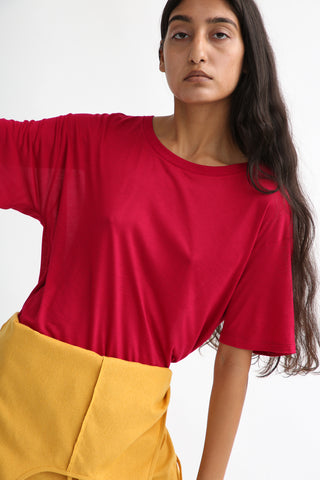 Baserange Loose Tee - Bamboo Jersey in Red on model view front