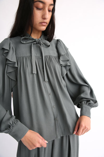 Ulla Johnson Tabitha Blouse in Peat front untucked
