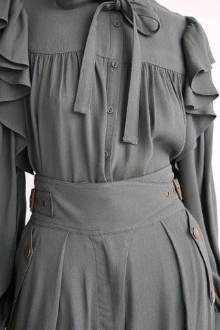 Ulla Johnson Tabitha Blouse in Peat front tucked in