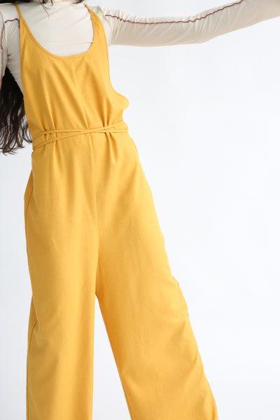 Baserange Otay Jumpsuit in Gold waist tie detail