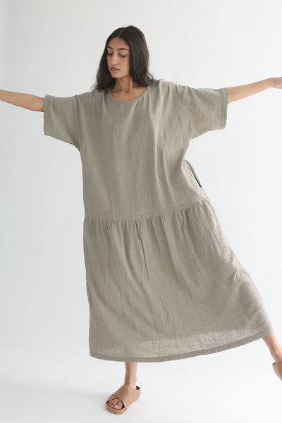 Black Crane Easy Dress in Stone front
