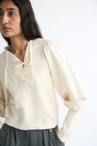 Ulla Johnson Alba Pullover in Creme sleeve