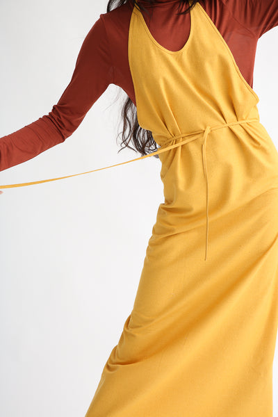 Baserange Apron Dress in Gold halter neckline view
