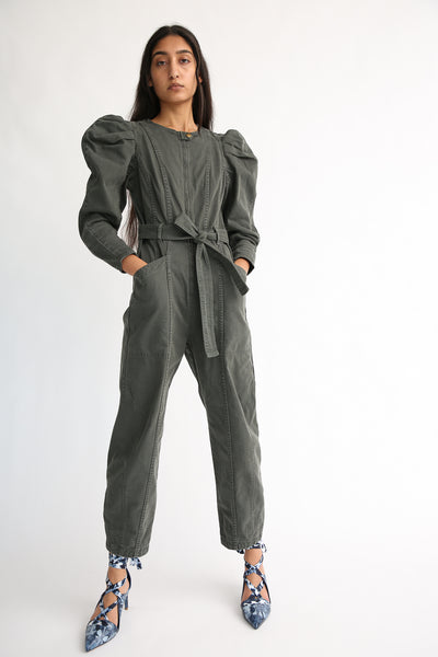 Ulla Johnson Pascal Jumpsuit in Peat on model view front