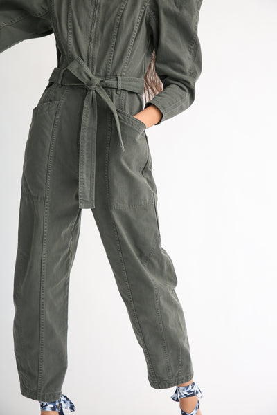 Ulla Johnson Pascal Jumpsuit in Peat front pocket and leg