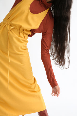 Baserange Apron Dress in Gold front waist tie detail