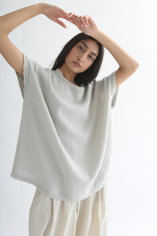Black Crane Gauze Top in Stone front