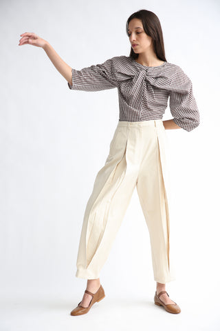 Caron Callahan Elliot Pant in Natural Slub Silk Cotton on model view front