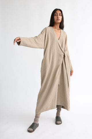 Lauren Manoogian Long Sleeve Wrap Dress in Husk on model view front