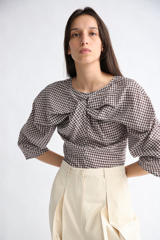 Caron Callahan Alexis Top in Brown Gingham front