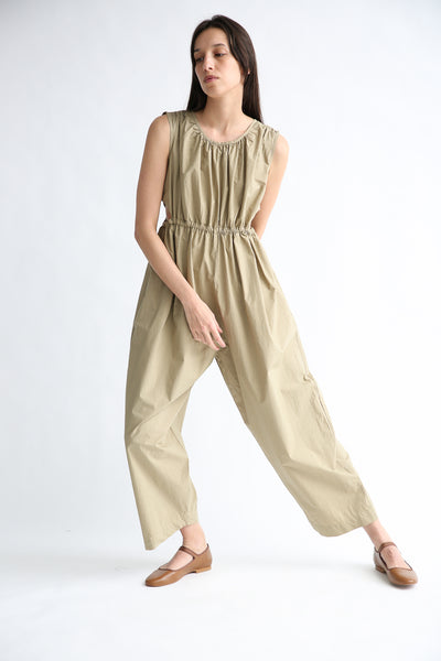 Caron Callahan Goa Jumpsuit in Khaki Cotton Poplin front