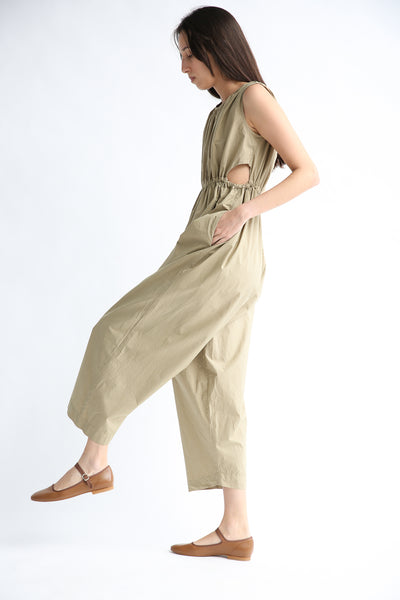Caron Callahan Goa Jumpsuit in Khaki Cotton Poplin side