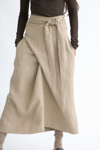 Lauren Manoogian Wrap Skirt in Husk adjustable wrap detail front