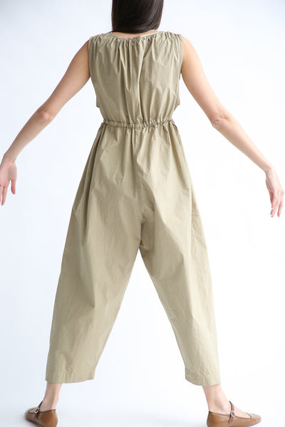 Caron Callahan Goa Jumpsuit in Khaki Cotton Poplin on model view back