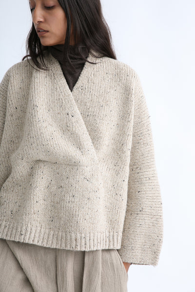 Lauren Manoogian Shawl Poncho in Ecru Tweed sleeve view