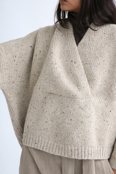 Lauren Manoogian Shawl Poncho in Ecru Tweed front neck detail