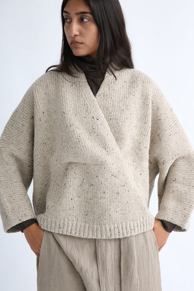 Lauren Manoogian Shawl Poncho in Ecru Tweed shawl neck view