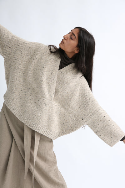 Lauren Manoogian Shawl Poncho in Ecru Tweed on model view front