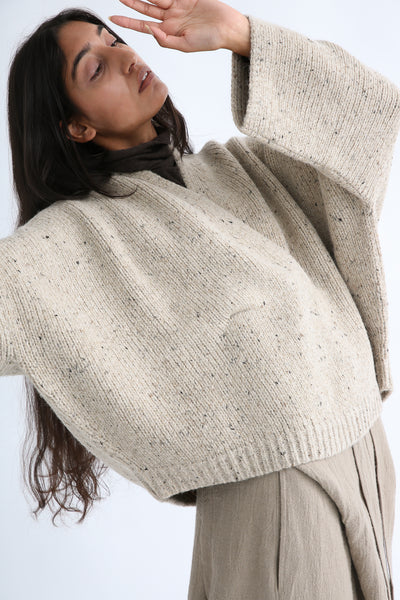 Lauren Manoogian Shawl Poncho in Ecru Tweed waistband detail