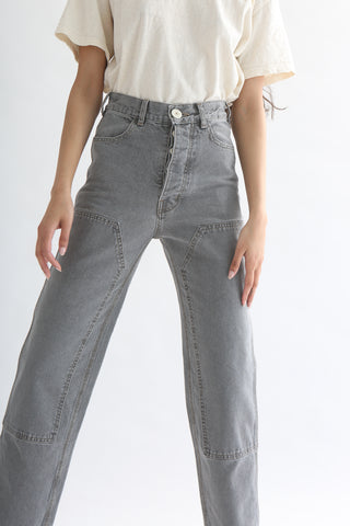 Jesse Kamm Patchfront Handy Pant - Deadstock American Denim in Smokey Grey front detail