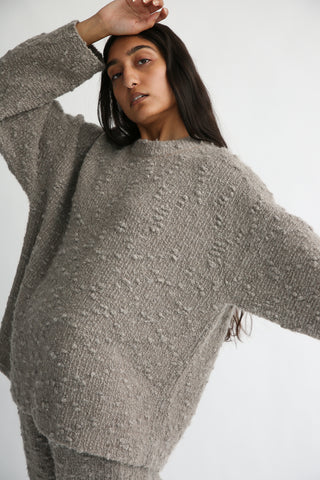 Lauren Manoogian Oru Pullover in Grey Combo knit texture detail