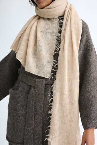Lauren Manoogian Fringe Scarf in Beige on model view