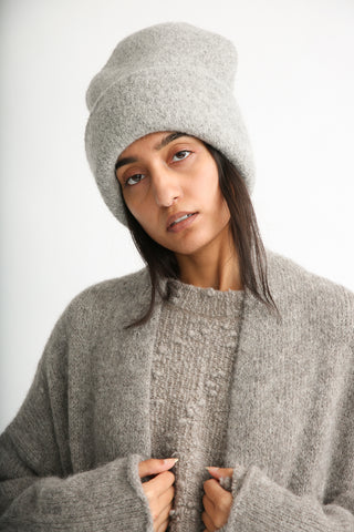 Lauren Manoogian Carpenter Hat in Baltic on model view front