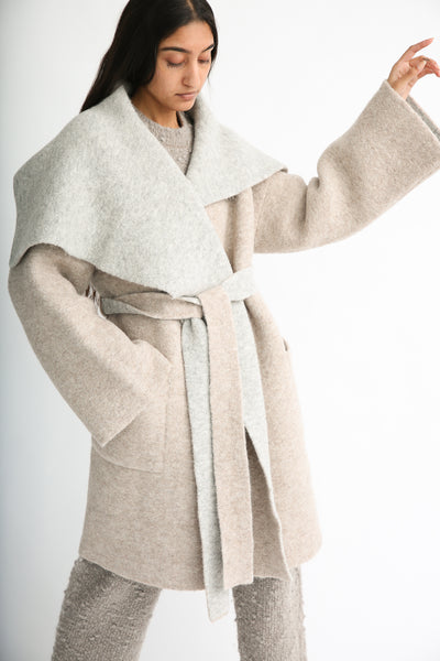 Lauren Manoogian Blanket Coat in Bale/Pebble on model view front
