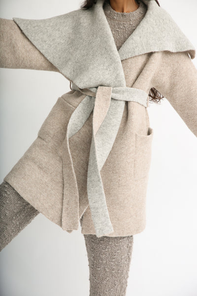 Lauren Manoogian Blanket Coat in Bale/Pebble front