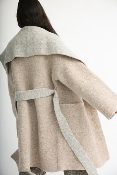 Lauren Manoogian Blanket Coat in Bale/Pebble side