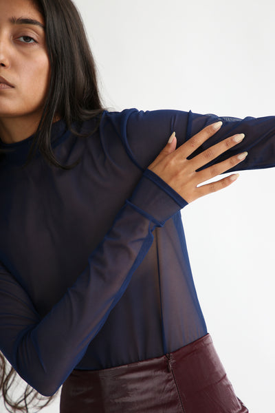 Nomia Longsleeve Mock Neck - Mesh in Navy sleeve view