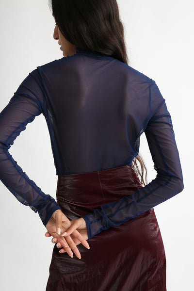 Nomia Longsleeve Mock Neck - Mesh in Navy on model view back