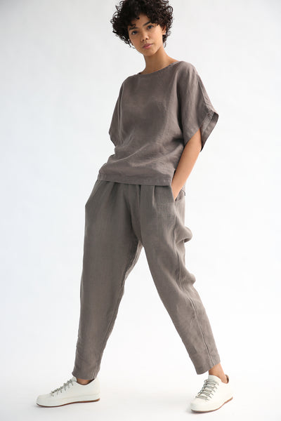 Black Crane Carpenter Pants  in Gray on model view front