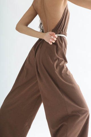 Baserange Shore Jumpsuit - Silk in Nerida Brown back view