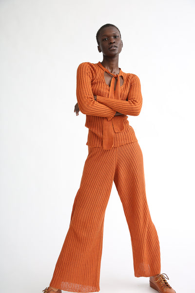 Baserange Maru Pants in Umber on model view front