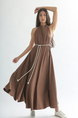 Baserange Shore Dress - Silk in Nerida Brown front