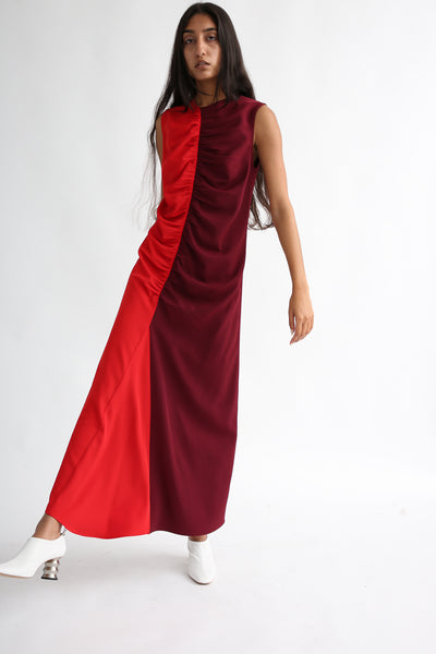 Nomia Gathered Colorblock Dress - Crepe Stretch in Burgundy/Red on model view front