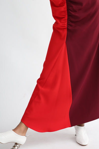 Nomia Gathered Colorblock Dress - Crepe Stretch in Burgundy/Red bias insert pleat detail