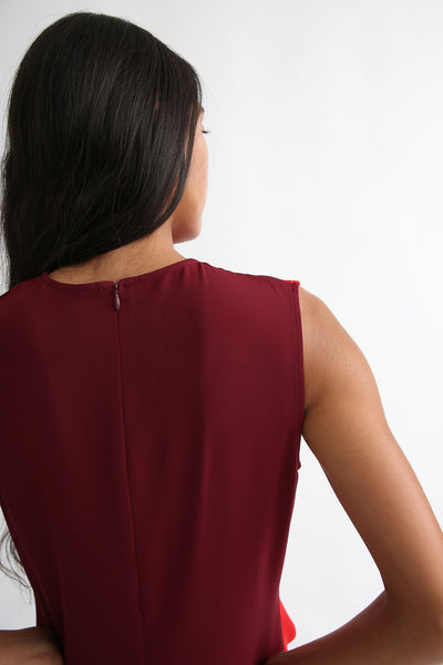 Nomia Gathered Colorblock Dress - Crepe Stretch in Burgundy/Red back zipper detail