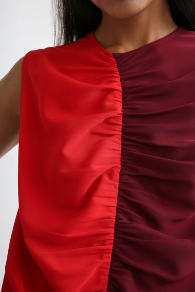 Nomia Gathered Colorblock Dress - Crepe Stretch in Burgundy/Red neck detail