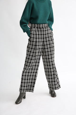 Rito Wool Check Tweed Pants in Black and White on model view front
